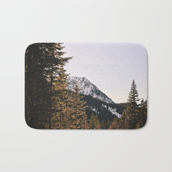 Snow Mountain in the Trees Bath Mat