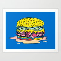 burger Art Prints featuring Burger by Maxime Roy