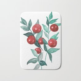 Butchers broom red berries Bath Mat