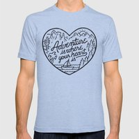 Adventure is where your heart is Tri-Blue MEDIUM Mens Fitted Tee
