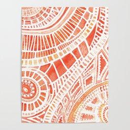 Tropical orange watercolor mosaic Poster
