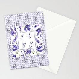 Elegant LOVE Watercolour Lavender Floral Pattern Stationery Cards