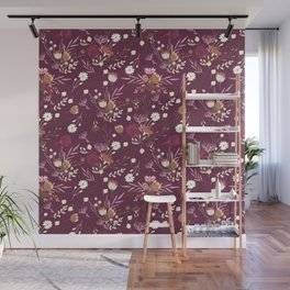 Burgundy white blush pink hand painted floral Wall Mural