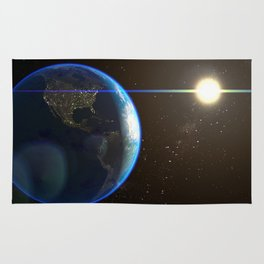 Night Lighted Earth from space Rug