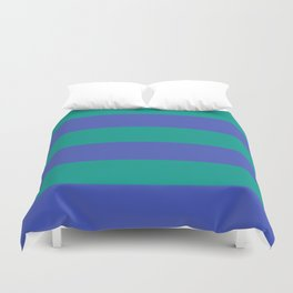 Even Horizontal Stripes, Teal and Indigo, XL Duvet Cover