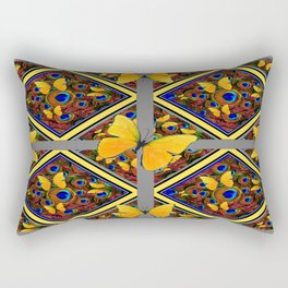 Grey-Yellow Butterfly Patterns Peacock Eyes  Design Rectangular Pillow