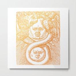 Gold Vintage Alchemy Ouroboros Illustration Metal Print