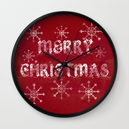 Merry Christmas in red Wall Clock