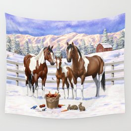 Bay Pinto Paint Horses In Snow Wall Tapestry