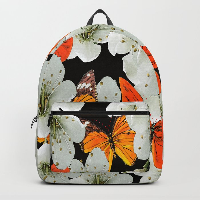 Cherry flowers and colorful butterflies on a black background Backpack