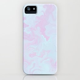 Elegant pink teal watercolor abstract marble iPhone Case