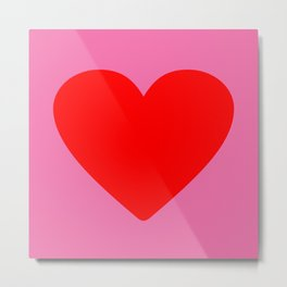 Red heart in pink Metal Print