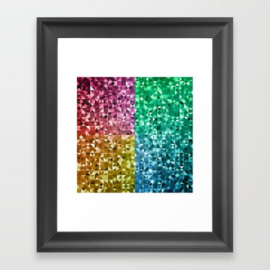 RGBY Triangle Grunge Framed Art Print