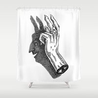 baphomet Shower Curtains featuring Ombromanie by dalmingo