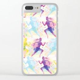 Watercolor women runner pattern Clear iPhone Case