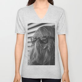 You're An Idiot! - Not Sasquatch or Chewbacca humorous rorschach black and white photograph  Unisex V-Neck