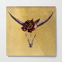Grunge Animal Skull Metal Print