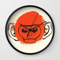 monkey island Wall Clocks featuring Monkey by James White