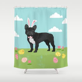 French Bulldog easter spring dog breed gifts pure breed frenchies black with white coat Shower Curtain