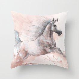 Running  arabian horse watercolor art Throw Pillow