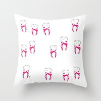 tooth Throw Pillows featuring Tooth by - OP -