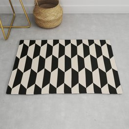 Classic Trapezoid Pattern 732 Black and Linen White Rug