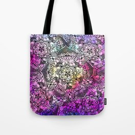 Floral mandala handdrawn pink nebula watercolor Tote Bag