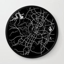 Austin, Texas Map Black and White Wall Clock