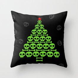 Green Skulls and Bones Christmas Tree Throw Pillow