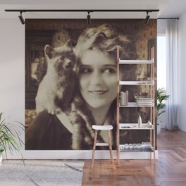 Mary Pickford - Vintage Lady with kitten Wall Mural