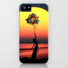Sunset Balloons Girl iPhone Case