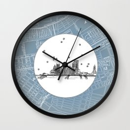 Pittsburgh, Pennsylvania City Skyline Illustration Drawing Wall Clock