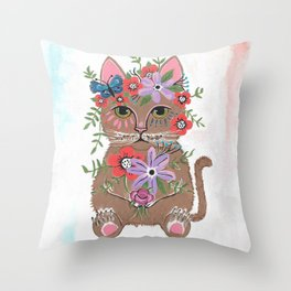 Whimsical Cat With Flowers Throw Pillow