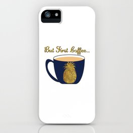 Gold Foil Pineapple Coffee Cup Design iPhone Case