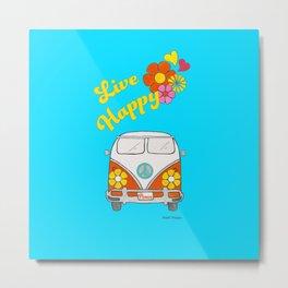 Live Happy Van Metal Print