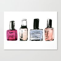 nail polish Canvas Prints featuring Nail Polish by Erin Marie Illustration