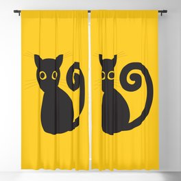 Black vector cat with orange eyes Blackout Curtain