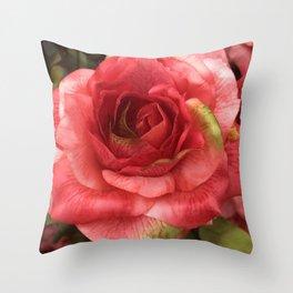 Single Silk Red Rose Macro Photo Throw Pillow