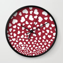 Modern red white romantic valentine's hearts pattern Wall Clock