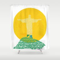 rio de janeiro Shower Curtains featuring Cristo Redentor - Rio de Janeiro by Julia Braga