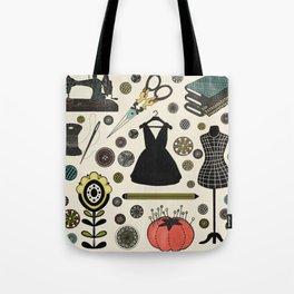 Little Black Dress Folk Art with Vintage Sewing Notions Tote Bag