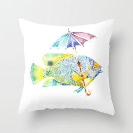 Fishy Fish - Original Watercolor of Yellow Mask Angel Fish with Umbrella Throw Pillow