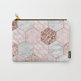 Rose gold dreaming - marble hexagons Carry-All Pouch