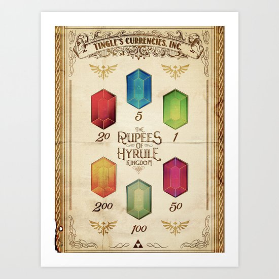 Legend of Zelda - The Rupees of Hyrule Kingdom Guide Art Print