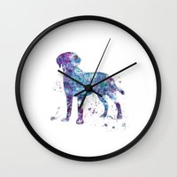 labrador Wall Clocks featuring Labrador  by Watercolorist