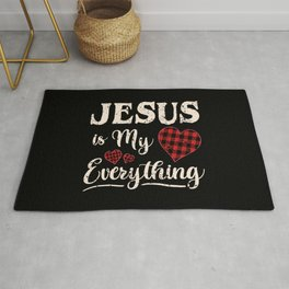 Jesus Is My Everything Christian Faith God Buffalo Plaid   Rug