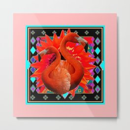 CORAL ART DECO SAFFRON FLORIDA FLAMINGOS ART Metal Print