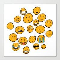 emoji Canvas Prints featuring Emoji Family by Jason Travis