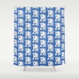 Mid Century Horse Pattern Blue Shower Curtain