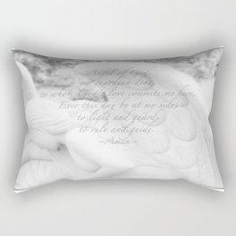 Guardian Angel Prayer | White Angel | Religious Art | Baptism | First Communion Rectangular Pillow